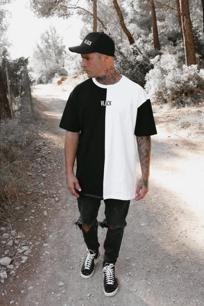 Camiseta Vlack Apparel Ecofriendly oversize confeccionada de algodón orgánico blanca y negra, con este modelo no te dejará indiferente.